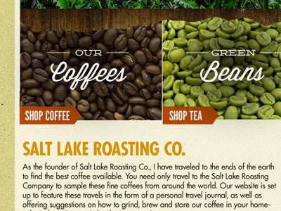 Salt Lake Roasters Redesign cafe webdesign callouts futura coffee ecommerce