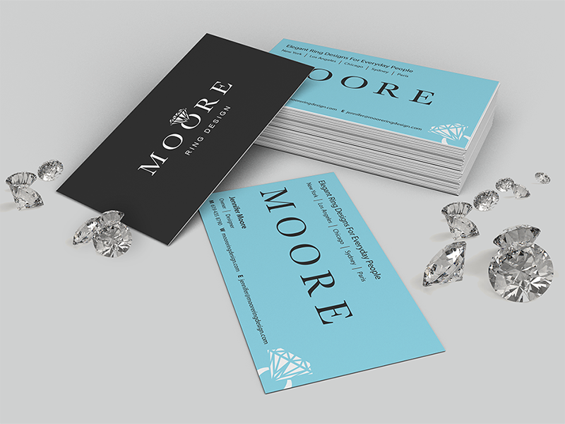 Moore Ring Design brand classy logo identity business cards diamonds jewelry