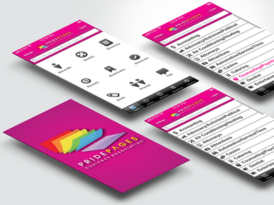 Pride Pages reviews identity pink ux rainbow logo ui visual design mobile directory lgbt search