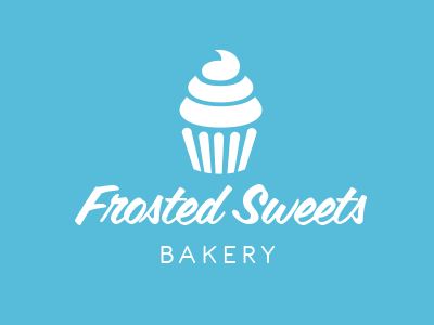Frosted Sweets Bakery logo bakery sweets frosted blue cupcake typography identity