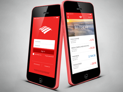 Bank of America Mobile App bofa mobile ui bank iphone 5c ux red money minimalist login