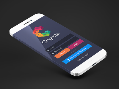 Cognito Login login identity brand rainbow mobile simple ui ux clean flat minimalist psd