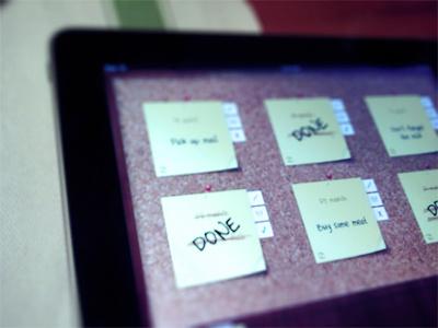 Fridgenote ipad ui design cork notes