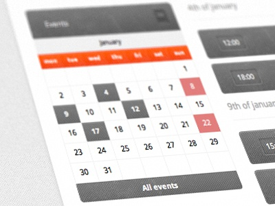 Events Calendar date events web grey grunge