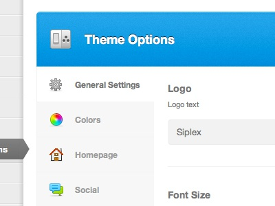 Theme Options Panel admin wordpress theme settings sidebar