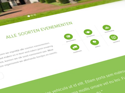 Events website events green white icons clean