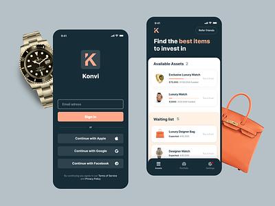 Luxury Marketplace interface ui iphone ios apple clean app luxury brand fintech app fintech investment marketplace rolex luxury