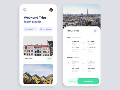Weekend Trips App minimal white clean air plane train booking berlin paris ios app trips weekend
