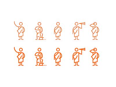 Okapi Studio Audit Icons flat design flat roman orator character line art flat icons vector icon illustration