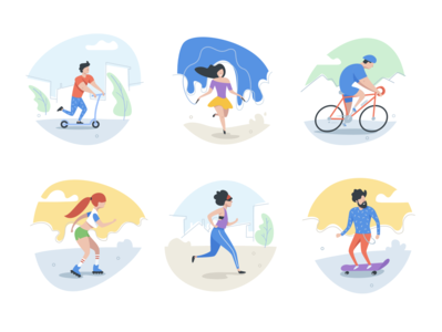 Outdoor activities skateboard jogging scooter running bicycle sports outdoor sport flat character vector illustration