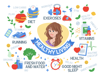 Healthy Living diet organic energy fresh food health vitamins gym sports exercises sport character vector illustration