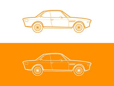BMW E9 flat color vector line bmw sketch car illustrator illustration