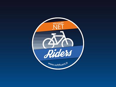 Sticker DotNet Riders dotnet softfluent bike illustration gradient design flat patch badge logo sticker
