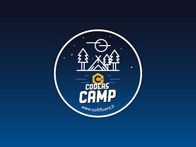 C# Coders Camp sticker softfluent patch logo illustration gradient flat csharp design forest camp badge