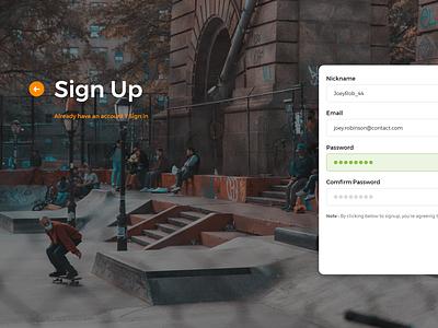 Skateboarding - Sign Up Web skateboard interface desktop dailyui ux ui page landing form signup