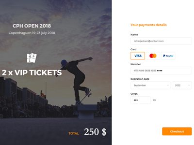 Copenhagen Open 2018 - Checkout Web ux ui skateboard copenhagen checkout page landing interface form desktop dailyui