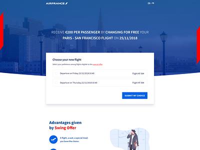 Smooss Landing Page - Air France 🛫 airfrance plane product form landing page vector interface website home webdesign design landing illustration ux ui