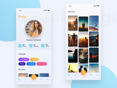 user profile page - social app image upload tabbar uploads interests profile image concept app orange blue icons shadows gradient profile ux ui interface design clean mobile app iphone x ios app