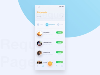social app - friend requests page