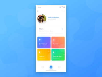 user profile page concept profile image profile interests tabbar search bar album cover skecth mobile concept app app vector ux ui shadows iphone x interface design gradient shape layer icon cards