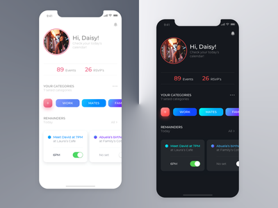 time management - planner app concept ui ux design time management skecth reminders profile image planner mobile app design dark theme gradient event app clean categories calendar