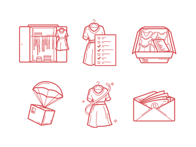 Selling Clothes Illustration illustration sell shipping closet package clothes iconography design icon icon set web outline