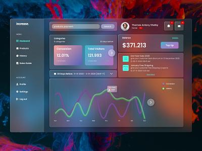 """Increase"" Seller Center glasmorphism clean web mobile ui design"