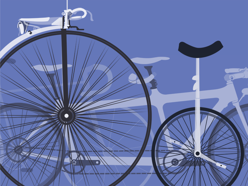 A plethora of velocipedes tints flat simple geometric illustrator wheels velocipede colorful unicycle bicycle illustration