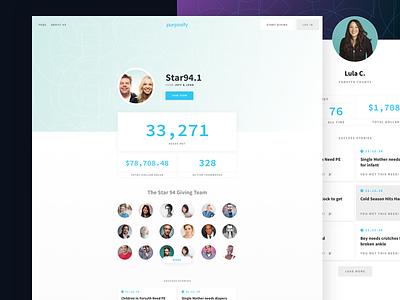 Purposity Profiles generosity giving interface design social good web design
