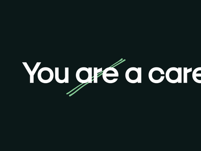 You Are a Care handmade production type dr typography web design dark ui