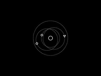 005—Orbital geometric branding minimal retrofuture scifi space dark geometry illustration