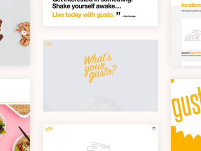 gusto! creative direction food photography motion design yellow gusto atlanta eat local fast casual restaurant design ui design interaction design web design