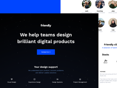 Friendly webdesign agency visual design team product design ui