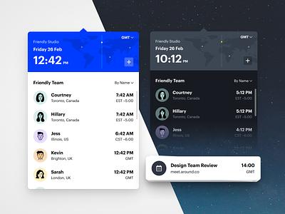 Team Time graphik dark mode product ux ui clock timezone
