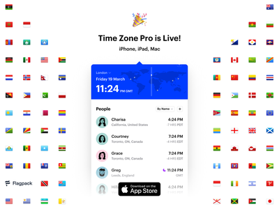 Time Zone Pro is Live! world flags contacts clock time zone mac iphone apple app store uiux ui macos ios app