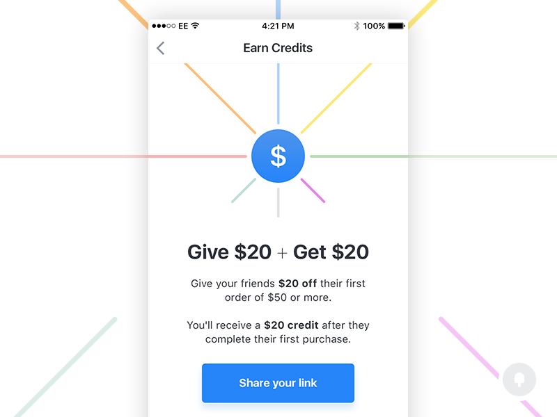 Earn Credits color design colour mobile ui ios share invite credits cash