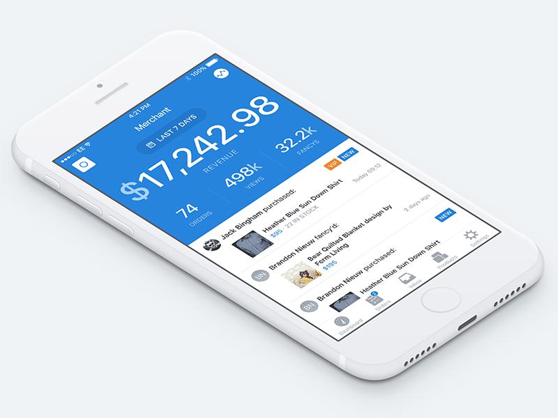 Seller App shop iphone ios ui stats dashboard store seller