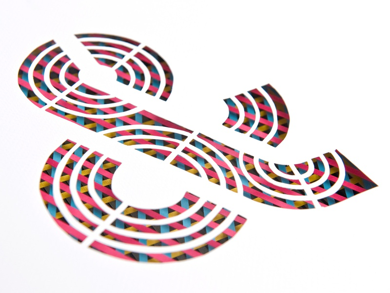 Hand cut dimensional ampersand layered layer dimension typography ampersand cut paper hand cut