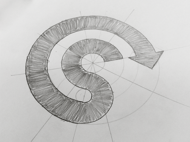Grid S Curve grid logo branding curve sketch