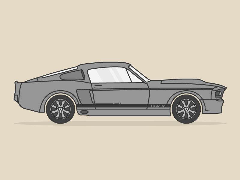 """Shelby GT500 """"Eleanor"""" car illustration simple line art line block colour"""