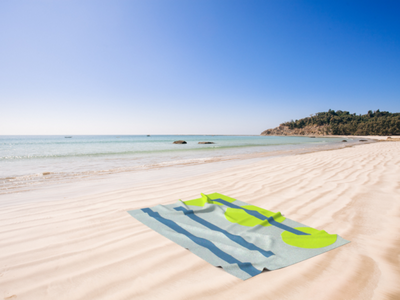 No.28 on a Beach Towel - Mockup adobedimension adobe dimension beach towel beach towel product placement product branding design collage