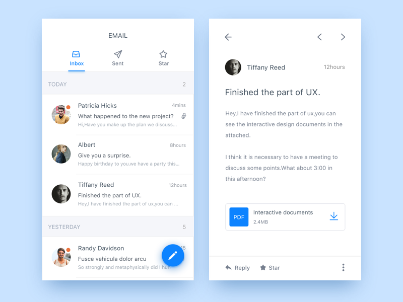 Day 016 email app by judicy dribbble for App layout design software