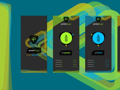 protoHype product design product page promotional design yellow blue green hue logo conceptual energy drink color mobile ux ui animation prototype