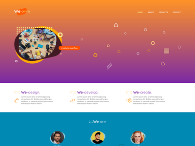 We-gency one page web design yellow purple orange landing page portfolio agency color design logo hue ux ui conceptual