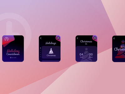 Holiday Countdown design logo hue animation purple pink red colorful prototype ux ui product design app watchos christmas holiday conceptual