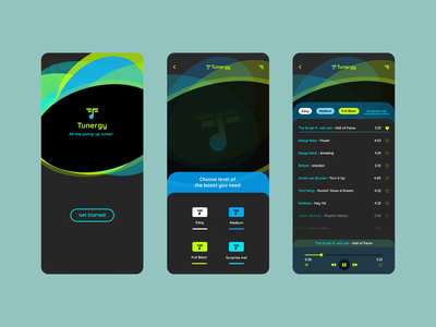 Tunergy ux ui mobile ui turquoise prototype product design playlist player music player music mobile green logo hue green design conceptual color blue app animation