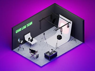 Isometric Echolab's studio design render isometric graphic design 3d
