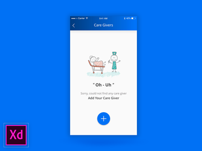 Empty State | Mecos experience design adobexd first health care giver app ios no data add no found empty