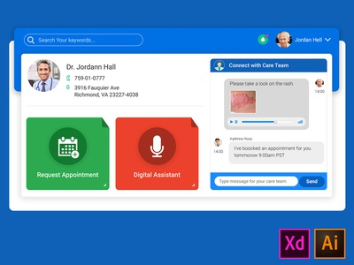 Patient Portal Dashboard ui ux application web doctor medical connect chat trackers health patient dashboard