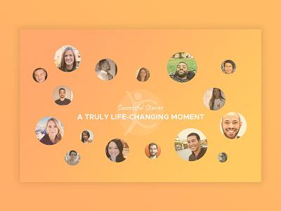 Successful stories  design ux ui coaching life testimonial health trust